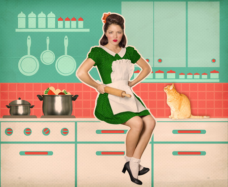 woman hairstyle: Young angry housewife with rolling pinin her kitchen.Reto style old poster