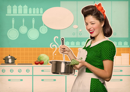 Young housewife cooking soup in her kitchen room with speech bubble.Retro style poster on old paper