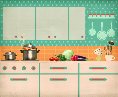 Retro kitchen interior room background on old texture Imagens