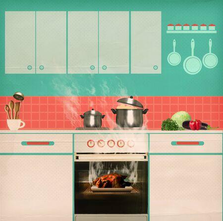 quemado: Pollo asado por alto en un horno de alimentos .Burned cartel retro de la cocina de fondo