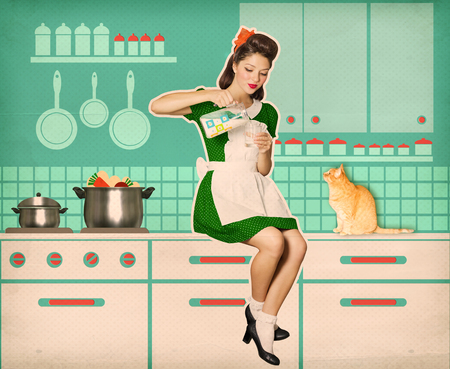 vintage woman: Retro woman holding a pitcher in her hand and drinking milk.Reto style old poster collage Stock Photo