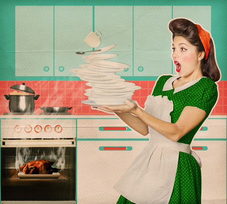 Clumsy housewife and overlooked roast chicken in an oven .Burned food retro poster kitchen background