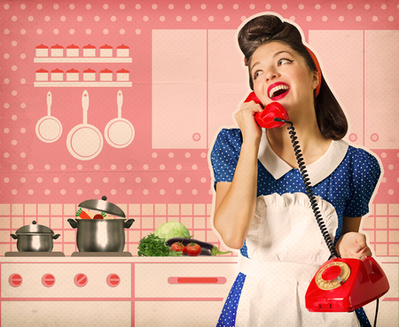 Retro young woman talking on phone in her kitchen interior. Poster on old paper