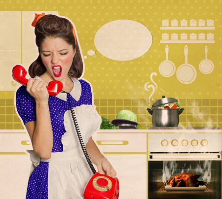 burnt: Angry housewife shouting on the phone in the kitchen.Retro poster on old paper