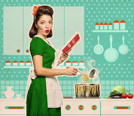 spaghetti: Retro young woman cooking spaghetti and reading recipe book in her kitchen room on old paper Stock Photo