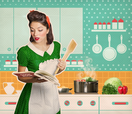 Retro housewife cooking and reading recipe book in her kitchen room on old texture paper