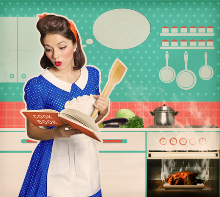Retro young attractive woman overlooked roast chicken in an oven.Housewife looking a cookbook in her kitchen interior. Poster on old paper