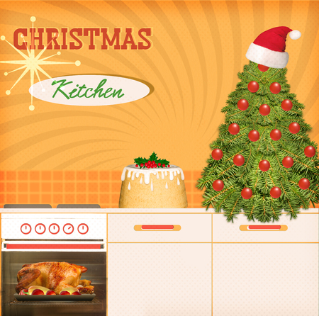 kitchen poster: Retro Christmas kitchen background poster for design kitchen interior. Stock Photo