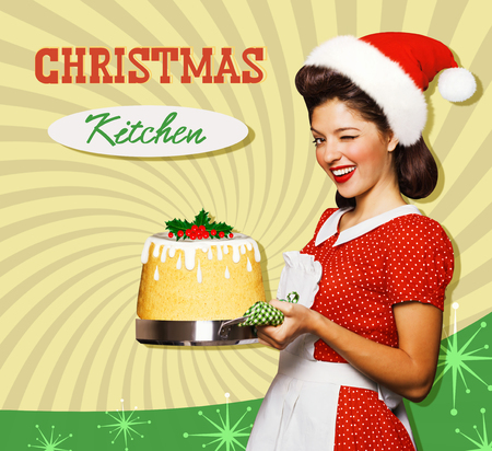 kitchen poster: Christmas kitchen poster with young pin up housewife and sweet cake .Reto style on old paper for text or design