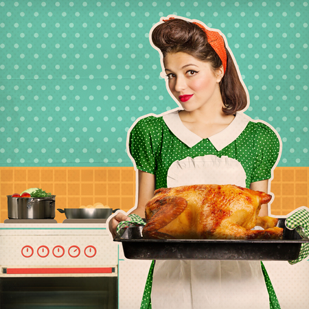 Young housewife holding roasted chicken in her hands.Retro kitchen room on old texture paper for text