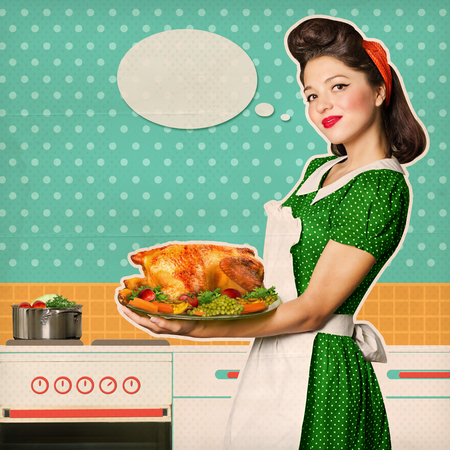 for text: Housewife holding roasted chicken in her hands.Retro kitchen room on old texture paper background for text