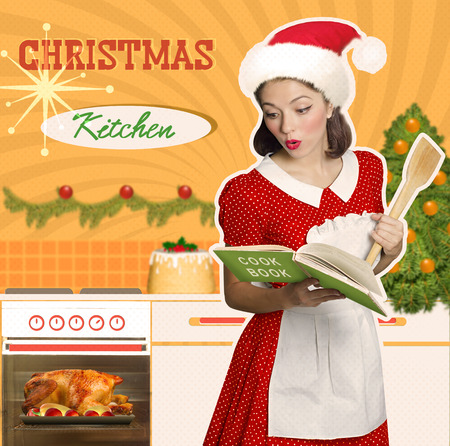 christmas hats: Retro young attractive woman cooks christmas dinner in her kitchen interior.