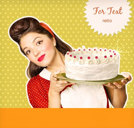 decorating: Young smiling housewife holding big cake in her hands.Retro poster background  Stock Photo