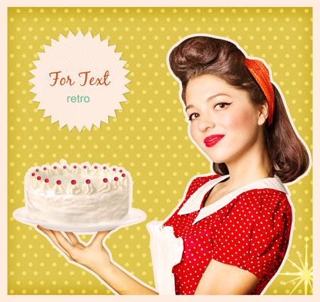 for text: Woman holding big cake in her hand.Retro poster background for text