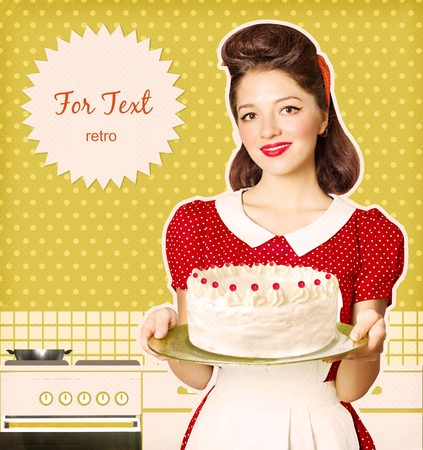 for text: Housewife holding homemade big cake in her hands.Retro poster for text  on old paper Stock Photo