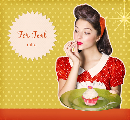 Attractive housewife holding sweet cupcake.Retro poster background for text on old paper texture