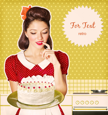 retro housewife: Housewife holding homemade big sweet cake in her hand.Retro poster for text on old paper