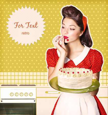 Young attractive housewife holding sweet cupcake.Retro poster background for text