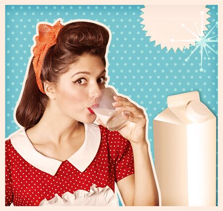 lady cow: Woman drinking glass of fresh milk.Retro poster background for text