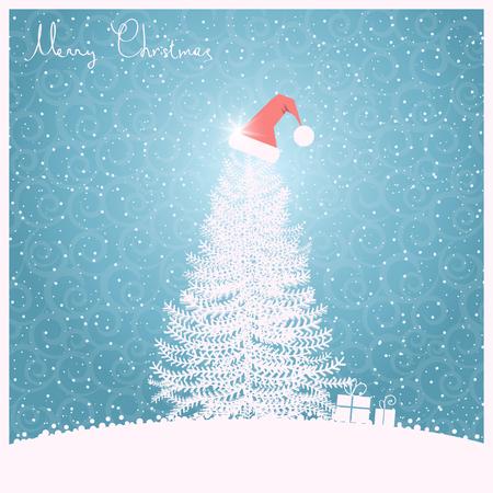 gift season: Christmas tree with Santas hat.Vector greeting card illustration