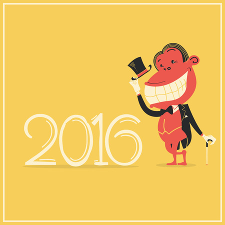 tailcoat: New year card with elegance monkey in gentlemans suit.Vector 2016 background