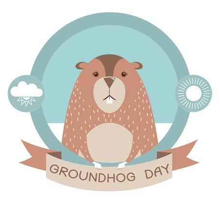 Groundhog day.Marmot vector label background for text