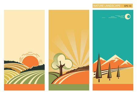 panoramic nature: nature landscape banners with summer hills and sun .Vector vintage collection for design Illustration