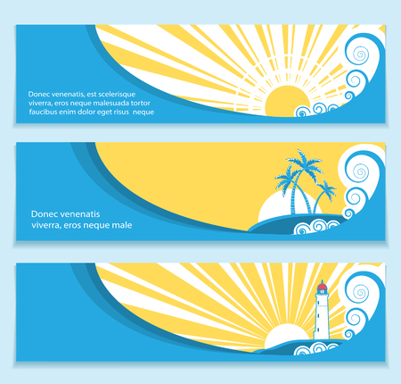 cartoon banner: set of banners about summer seascape with sea waves and sun .Vector illustration