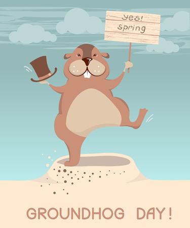 groundhog: Groundhog day. Vector marmot cartoons illustration background