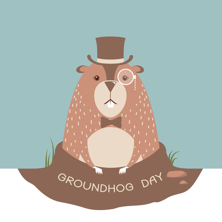 Happy groundhog day illustration.Vector marmot