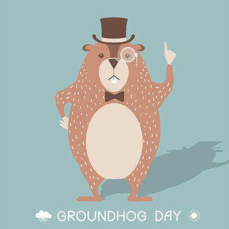 Happy Groundhog day card illustration with marmot in cylinder Illustration