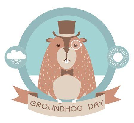 woodchuck: Happy groundhog day label illustration isolated on white