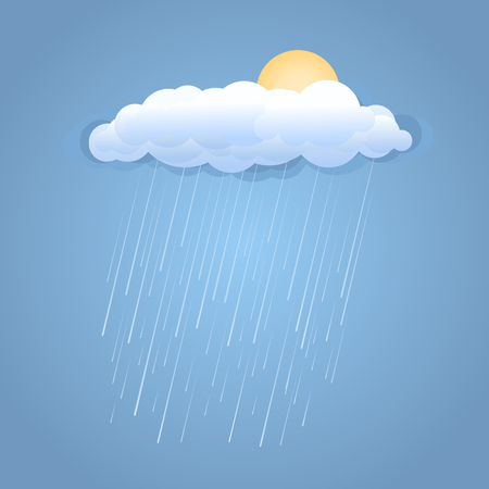 wet: Rain spring cloud with sunshine.Vector illustration
