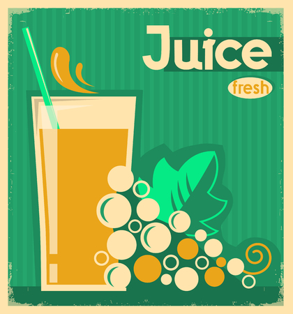 grape juice: vintage poster of fresh grape juice on old paper texture.Vector illustration
