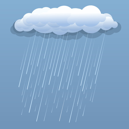 Nuvola di pioggia illustrazione vettoriale blu isolato Vettoriali