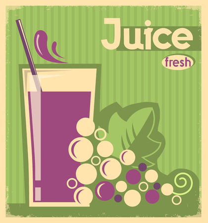 grape juice: vintage poster of grape juice on old paper texture.Vector card illustration