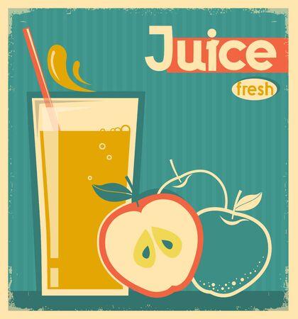 apple juice: fresh apple juice on vintage card.Vector illustration
