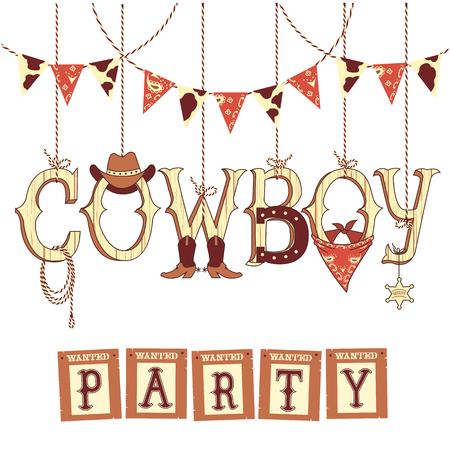bandana western: Cowboy party western decoration .Vector symbols with western decoration isolated on white