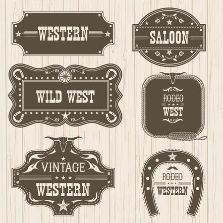 Western vintage labels and frames isolated for design.Vector illustration