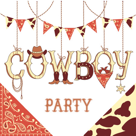 cowboy: Cowboy party western decoration .Vector symbols with western decoration