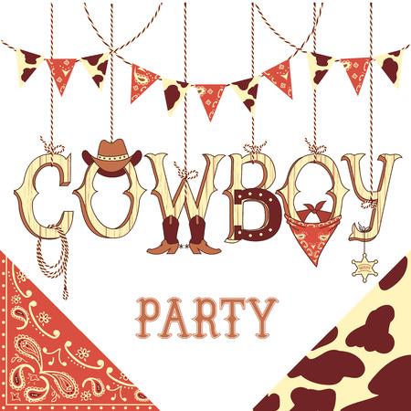 vaquero: Partido del vaquero occidentales símbolos decoración .Vector con la decoración occidental