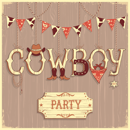 boots: Cowboy party text .Vector background card with western decoration