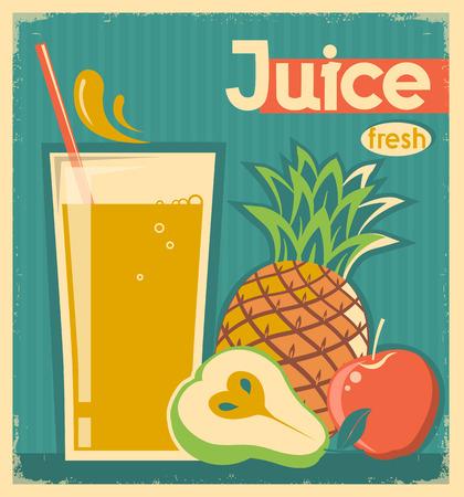 fruit juice: fresh fruit juice on vintage background.Vector illustration
