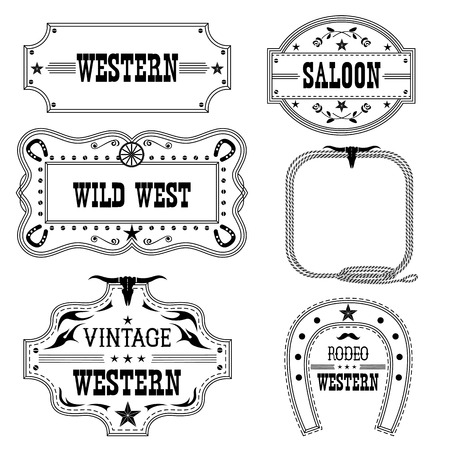 saloon: Western vintage labels isolated on white for design.Vector antique frames with text