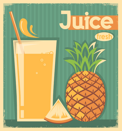 pineapple juice: pineapple juice on vintage card background.Vector illustration