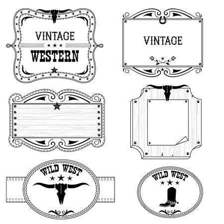 cowboy annata occidentale etichette isolate su bianco per cornici antiche design.Vector con testo Vettoriali