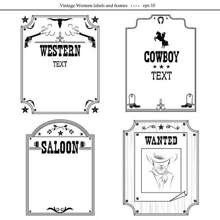 Set Of Western Vintage Backgrounds With Frames Isolated On White ...