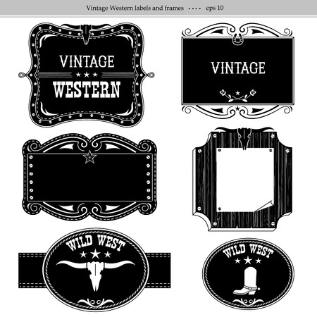 Western Vintage Labels.Vector Black Silhouettes Frames Isolated ...