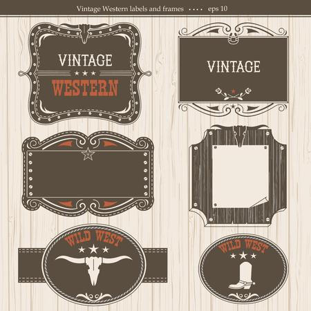 labels.Vector occidental del vintage marcos de fondo con el texto