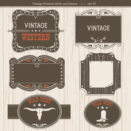 western: Western vintage labels.Vector frames background with text